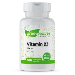 Vitamin B3 Niacin 500 mg- 100 Vegetarische Kapseln