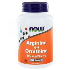 Arginine en Ornithine 500 mg / 250 mg - 100 capsules